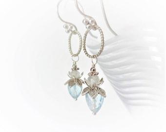 40% off PIXIE DUST Sky Blue Topaz, Rainbow Moonstone Luxe Gemstone & Bali Sterling Silver Earrings