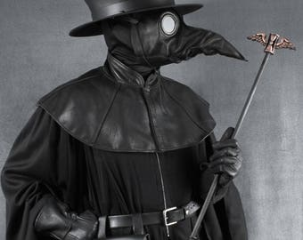 Plague Doctor mantle, shoulder cape in black garment leather capelet