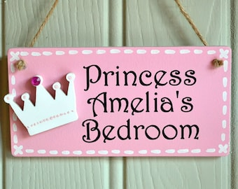 Personalised candy pink princess door plaque with crown embellishment & Princess door sign | Etsy
