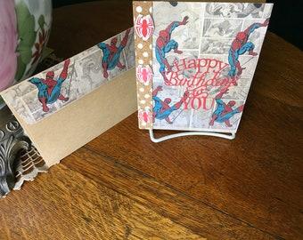 BIRTHDAY SPIDERMAN CARD , Spiders, Spider web, great card, Brother dad, boyfriend, anyone