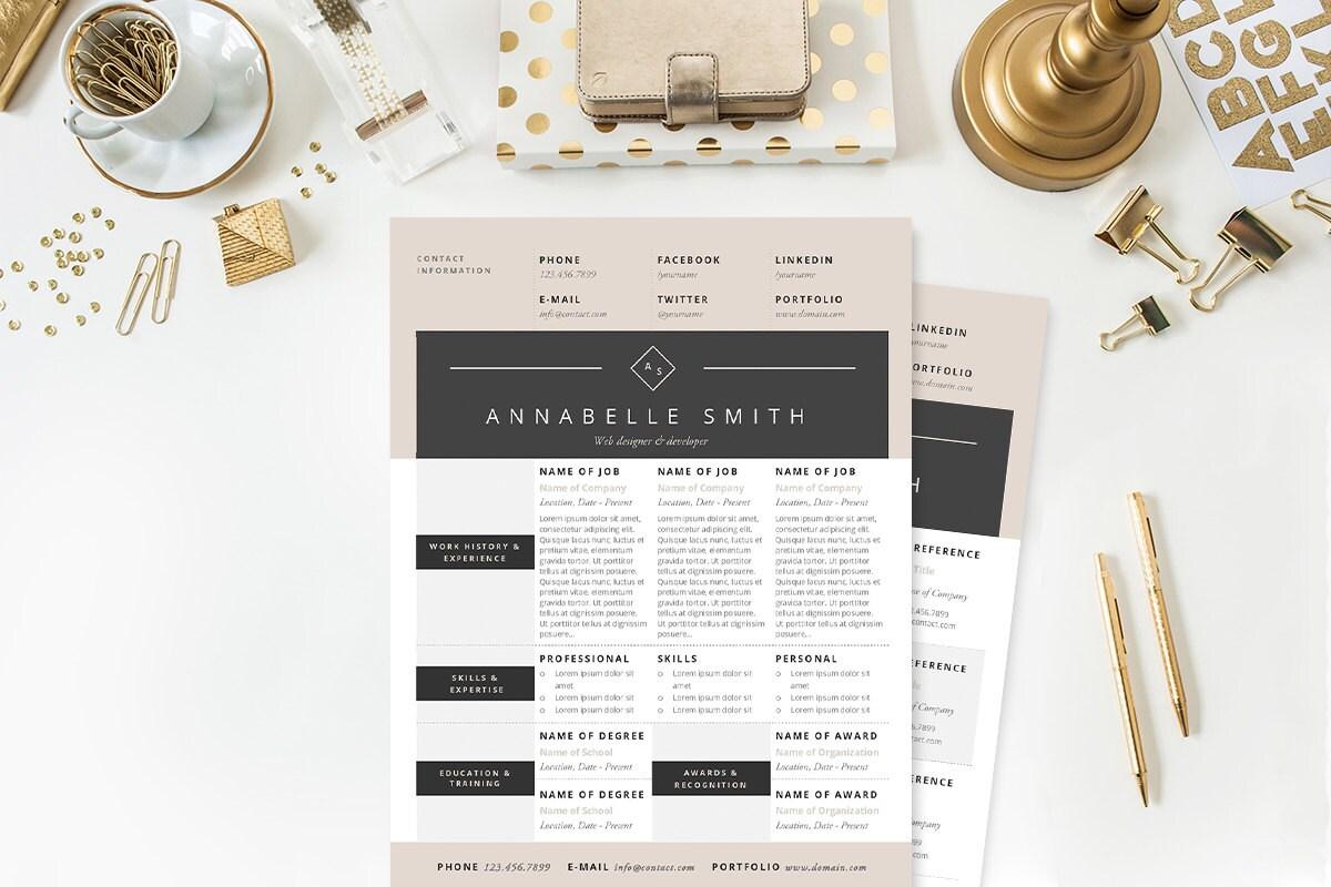 Elegant Modern Resume Cover Letter References Template Il Fullxfull Elegant  Modern Resume Cover Letter Accessory Designer Cover Letter