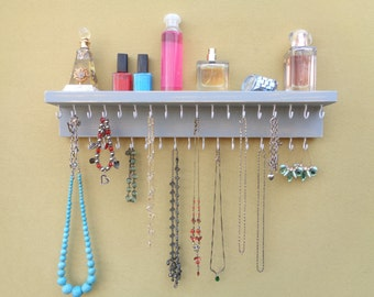 LOTS of OTHER COLORS - Jewelry / Necklace Organizer - Necklace Holder - Necklace Hanger - With 35 Hooks - And A Shelf