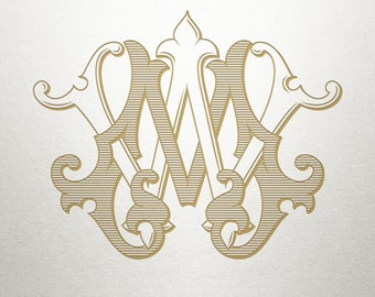 Custom Wedding Monogram - MW WM - Wedding Monogram - Vintage