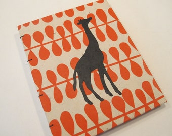 Giraffe Handmade Notebook Journal: Orange and Black Hardbound Coptic Small Book