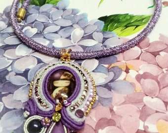Jeweled Textile necklace with pendant in soutaches