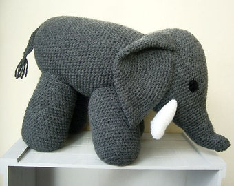 Free Shipping, Large Crochet Elephant,Grey Crochet Elephant, Stuffed Elephant Toy, Crochet Toys,Crochet Stuffed Animals,Crochet Toy Elephant