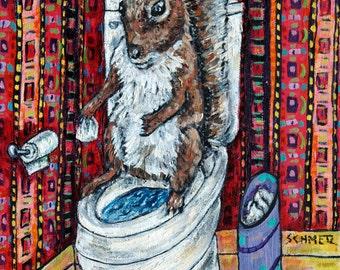 SQUIRREL bathroom art PRINT JSCHMETZ pop folk abstract modern 11x14