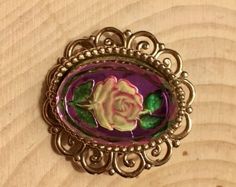 Vintage Pink Rose Brooch
