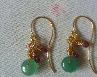 Emerald, Rubellite and 24K  Vermeil Earrings