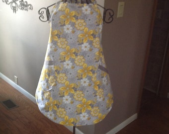 Apron yellow/ gray floral
