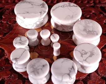 Pair of Howlite Stone Plugs / Gauges For Stretched Ears (25mm, 22mm, 19mm, 16mm, 14mm, 12mm, 10mm, 8mm, 6mm, 5mm, 4mm, 3mm)