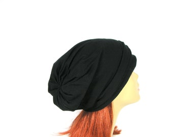 FREE SHIPPING Extra Slouchy Black Cotton Jersey Beanie Gray Slouchy Beanie Lightweight Slouch Hats for Men Slouch Hats for Women Chic Cotton