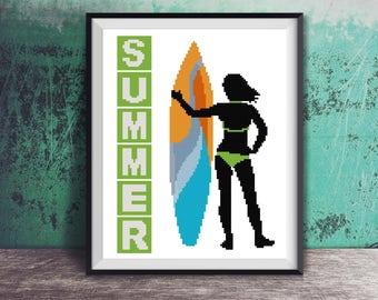 Silhouette Summer Surfer Girl Surfboard Surf Board Beach Art Counted Cross Stitch Pattern - PDF Digital Download