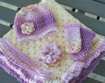 Preemies,blanket,hat,leg warmers,girls,infants,shower,gift,photo's,crochet,lavender,pink,mint,white.