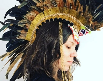 Natural feather mohawk, feather headdress, burning man headdress, festival mohawk, feather headdress, feather mohawk, festival clothing