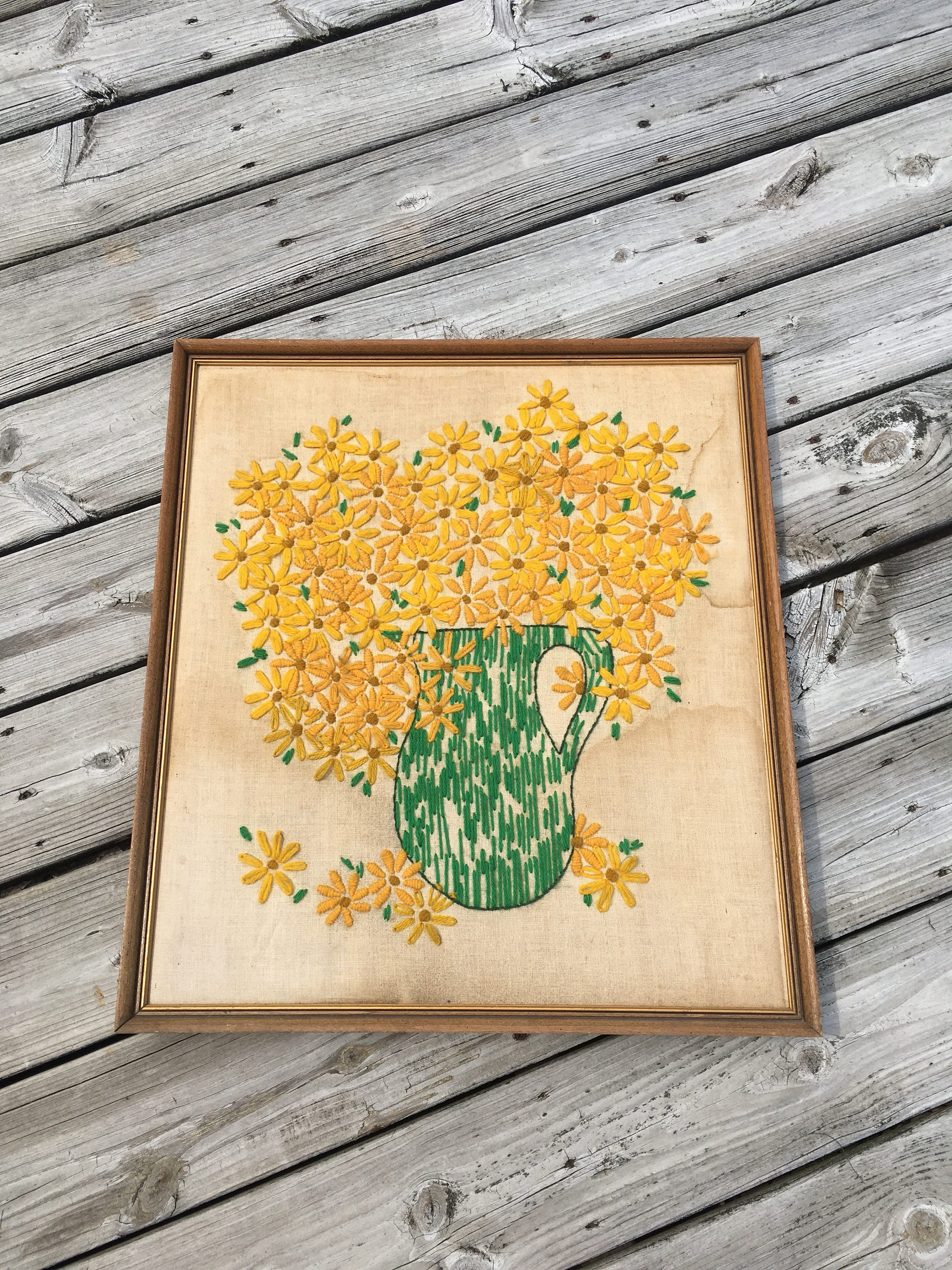 Framed Needlepoint Wall Art Crewel Wall Hanging Embroidered
