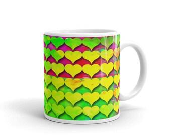 Ceramic coffee mug, Colorful mug, Hearts mug, Gift of Love, Romantic mug, 11 oz mug, 15 oz mug, Herts tea cup, Art mug, Mdp001-4
