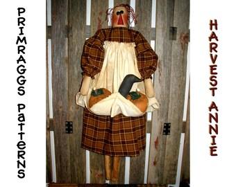 Primitive PATTERN Rag Doll holding Pumpkins, Crows - Harvest Annie - Primraggs -  instant download