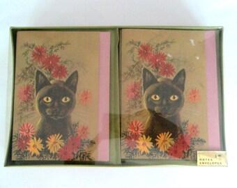 Black Cat Boxed Blank Note Cards 1970s Rosalind Welcher Panda Prints