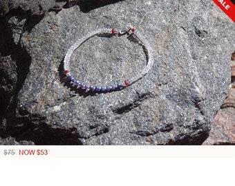 "Sale -  Sapphire Garnet and Moonstone Friendship Bracelet - Gemstone Bracelet - ""Bestie"""