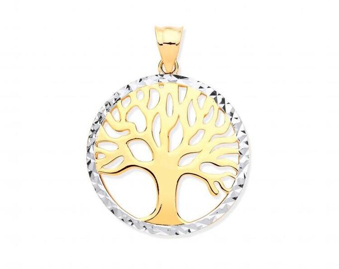 9ct 2 Colour Gold 2cm Tree of Life Round Disc Charm Pendant