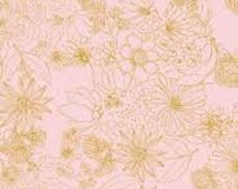 CLEARNCE: SAHUARO by Art Gallery Fabric , pink floral fabric, gold floral fabric