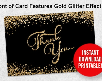 Thank You Note Card Instant Download Printable Gold Glitter (4x6 - 2 sides)