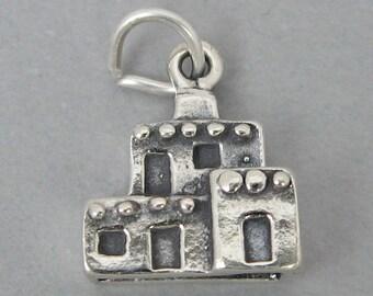 Sterling Silver Charm Pendant 3D Native American ADOBE PUEBLO HOUSE 1157