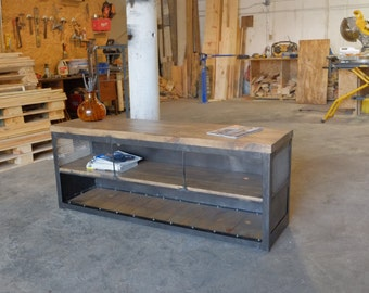 Modern Industrial 2 inch Wood Slab Console/Credenza Sideboard w/Steel Sides & Back