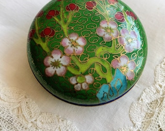 Vintage Cloisonne Enamel Round Box Container, Green, Blue, Floral, Asian, Trinket Box, Ring Dish, Handmade, Nature, Blossom, Flower