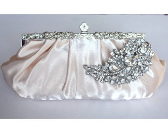 Bridal Clutch - champagne satin with Swarovski Crystal feather brooch - made to order