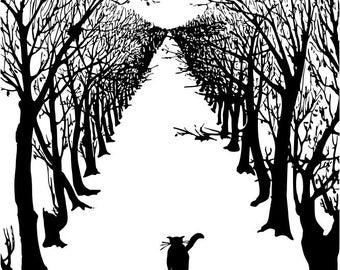 Cat Avenue Silhouette Pattern