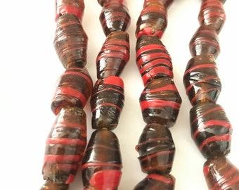 Vintage Venetian Amber Glass Beads with Cherry Swirls