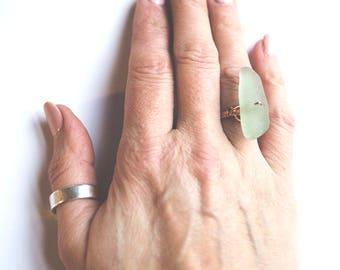 Copper and Pale Green Seaglass Shard Ring, Size N (UK), 7 (US), handmade, beach treasures, mermaid jewels, hippie, boho, gypsy