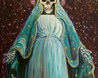La Santa Muerte ( n*12 ) A3 Print from Original Oil Painting Folk Art Only Death Mexican Art Day of the Dead