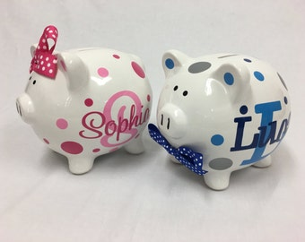 Piggy Bank: Personalized ceramic Piggy Bank - monogram, name, polka dots, flowers or stars, baby shower gift, children, ring bearer gift