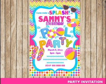 Pool Party invitation; Pool Party Birthday invitation,  Pool Birthday Party Invitation Digital File