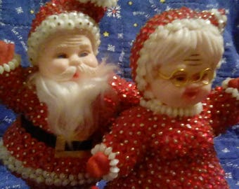 Sequined beaded Mr and Mrs Claus