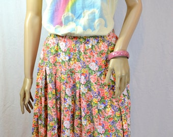 1970's HANDMADE FLORAL SKIRT One of a Kind size medium/large