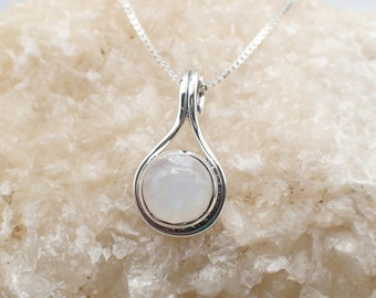 Rainbow Moonstone Necklace Sterling Silver Moonstone Pendant Box Chain