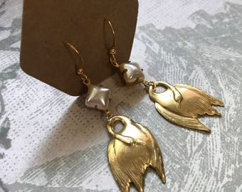 Brass Swan Earrings with Vintage Pearl Accent