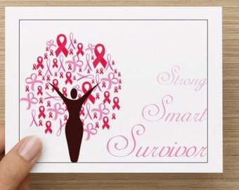Breast Cancer support. Personally designed. Breast cancer ribbon tree. Encouragement cards.