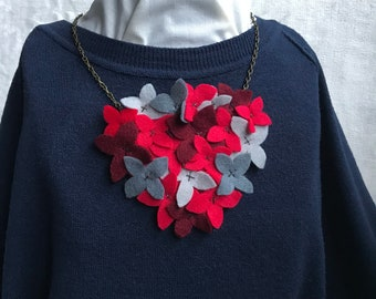 Felt Flower Necklace - Felt Bouquet - Red Flowers