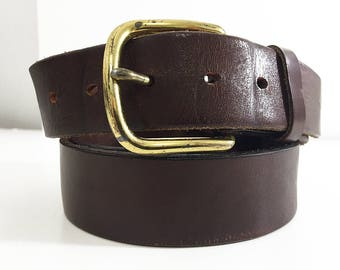 Brown Leather Belt Harness Leather / 80s Levis Belt Snap Belt Size 42 / Mens Dress Belt with Switchable Brass Buckle Vintage Leather Belt