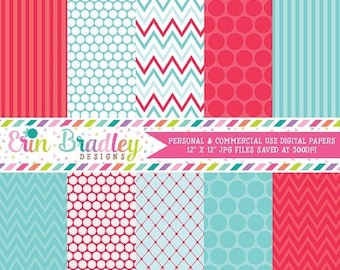 80% OFF SALE Summer Days Blue and Red Digital Paper Pack Commercial Use Instant Download