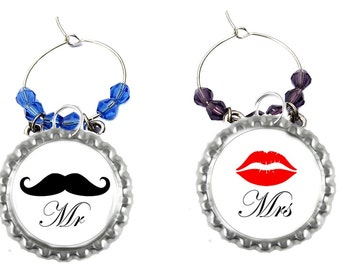 Mr. And Mrs. Wine Charms - Bride And Groom Wine Charms - His And Hers Wine Charms - Wedding Party Favors