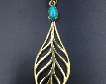 Leaf and turquoise brass earrings.