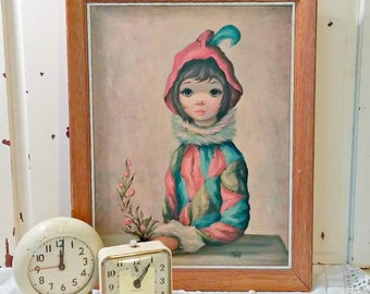 Vintage Maio Print   Harlequin Mardi-Gras Girl