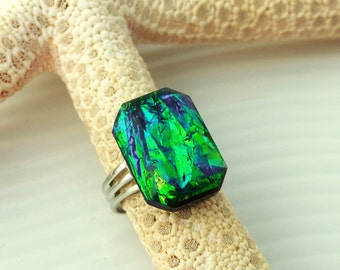 """Rectangle resin """"Amazon"""" bright green, captivating turquoise ring and deep blue"""
