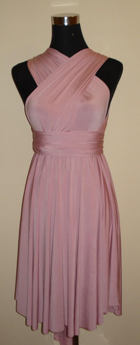 Altrosa rosa Brautjungfer Kleid Cabrio Kleid Multiway Kleid